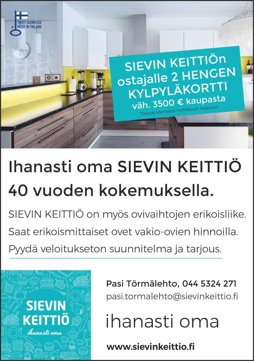 Sievin Keittiö ilmoitus huhtikuu 2018